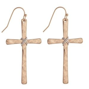 NWT  BOUTIQUE   ROSE GOLD HAMMERED CROSS EARRINGS